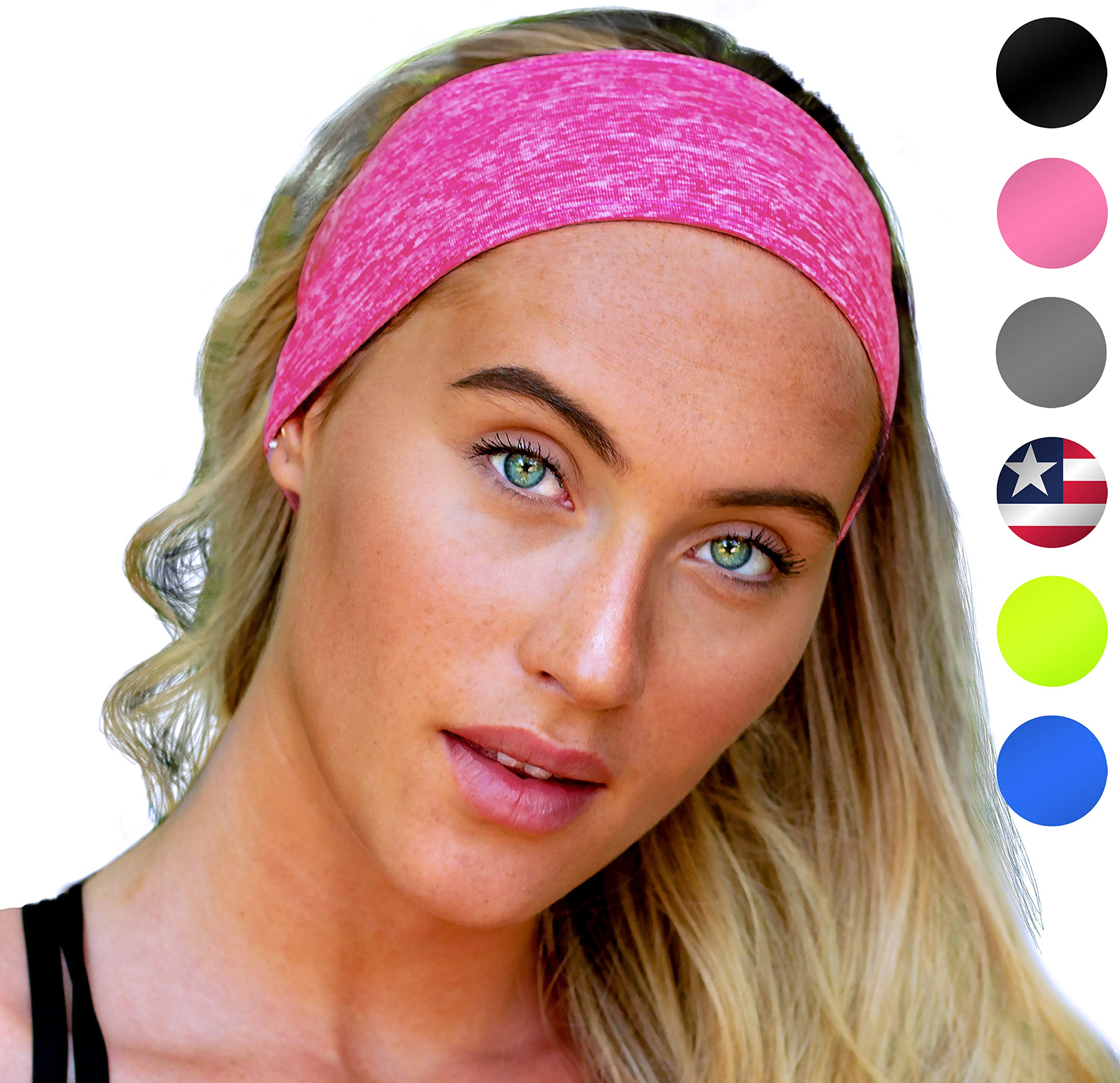 Sports Headband: Unisex Fitness Headbands for Women & Men. Head Band Sweatband for Running, Yoga, Workout Gym Exercise. NO Slip Sport Sweatbands & Sweat Wicking Athletic Head Wrap Bands Fit Over Hair by E Tronic Edge