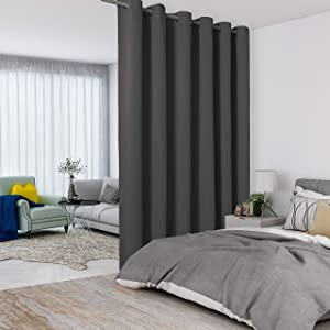 LORDTEX Dark Grey Room Divider Curtains - Total Privacy Wall Room Divider Screens Sound Proof Wide Blackout Curtain for Living Room Bedroom Patio Sliding Door, 1 Panel, 8.3ft Wide x 8ft Tall