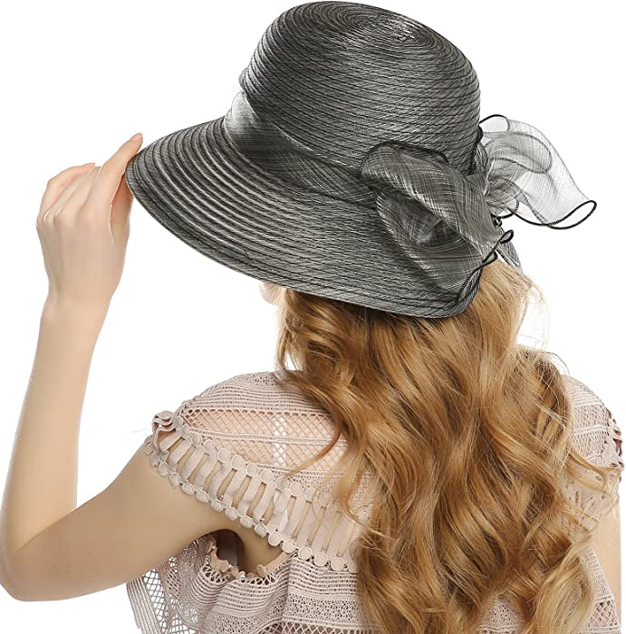 WELROG Women s Church Derby Hat - Fascinators Fancy Tea Party Hats Organza Wide  Brim Wedding Sun 4272db92cacc