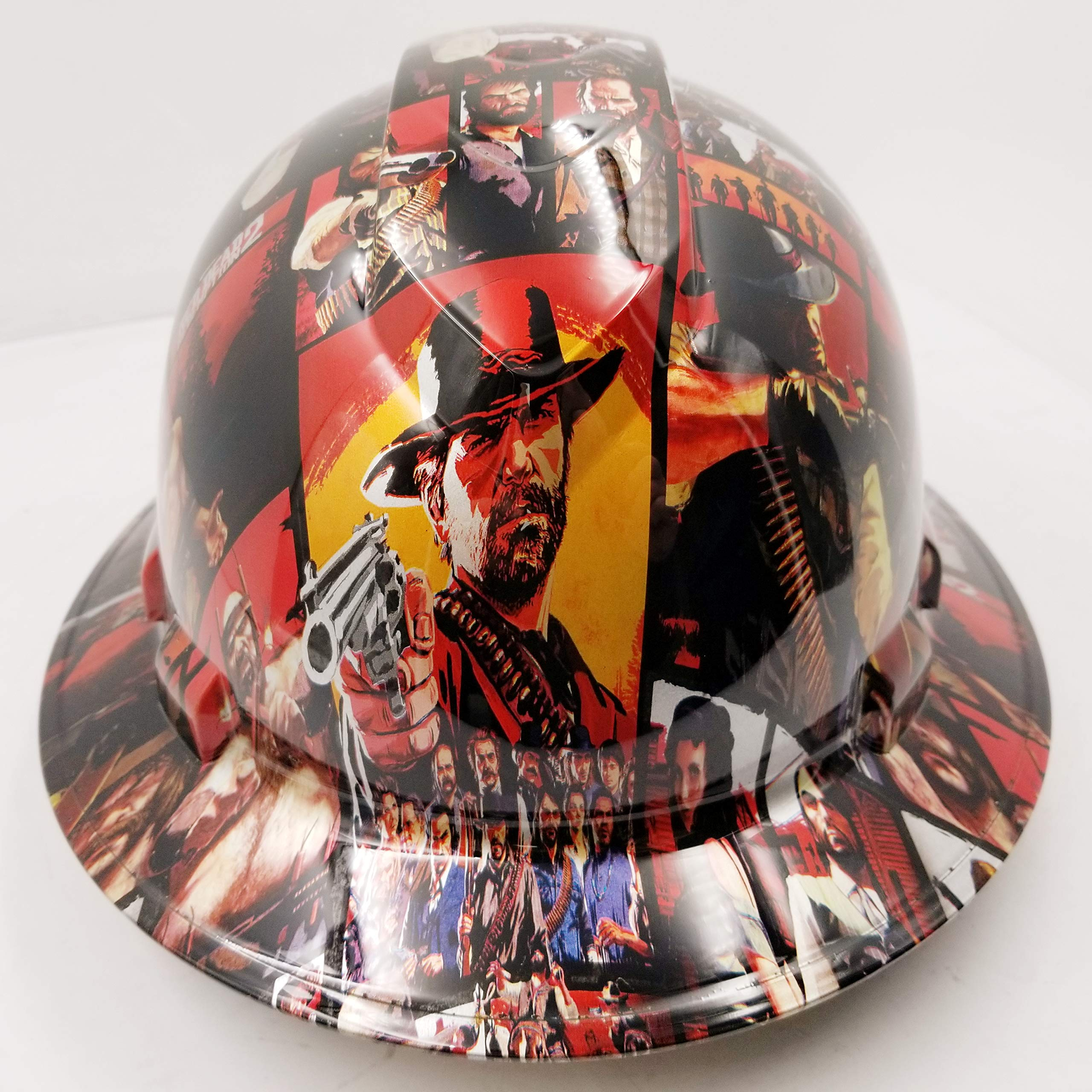 Wet Works Imaging Customized Pyramex Full Brim RED Dead Redemption 2 Hard HAT with Ratcheting Suspension Custom LIDS Crazy Sick Construction PPE