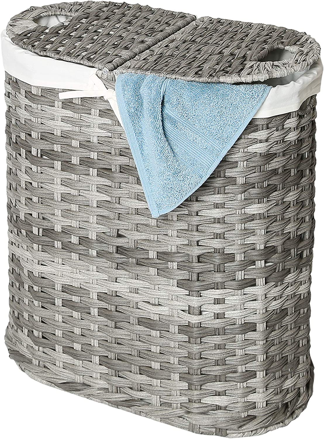 Seville Classics Handwoven Oval Double Lidded Removable Canvas Liner Laundry Sorter Hamper Bin, Gray