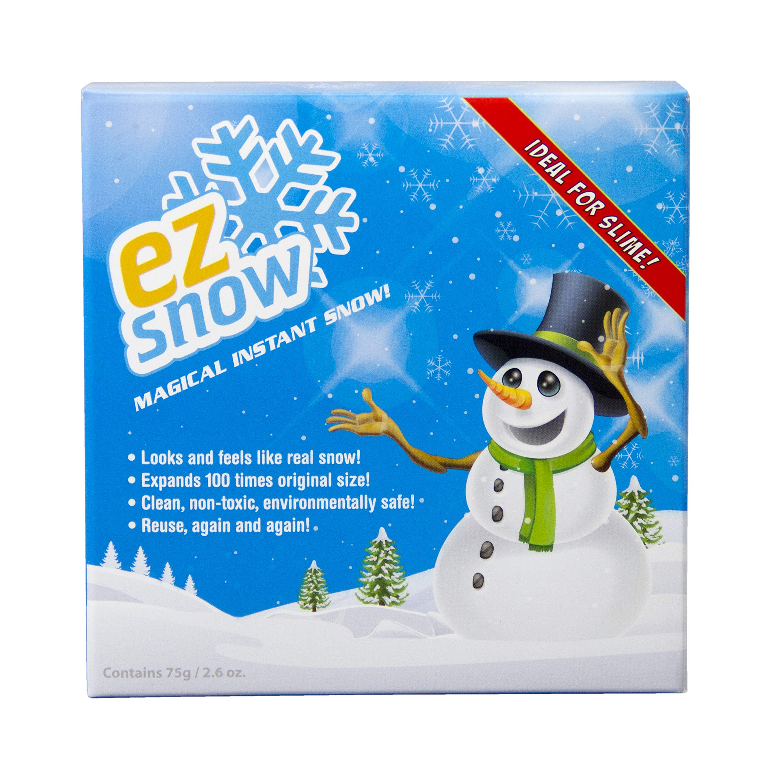 EZ Snow Magical Instant Snow, Looks and feels like real snow, Expands 100 times original size, Clean, non-toxic, environmentally safe, Reuse, again and again. Makes up to 2 gallons. Works with Slime!