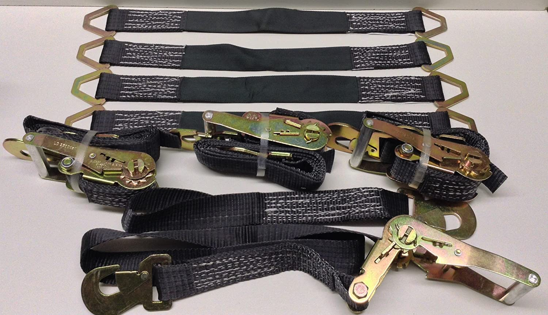 4 Axle Straps Car Hauler Trailer Auto Tie Down 4 Ratchet Straps Tow Kit - Black AK Garage 10001