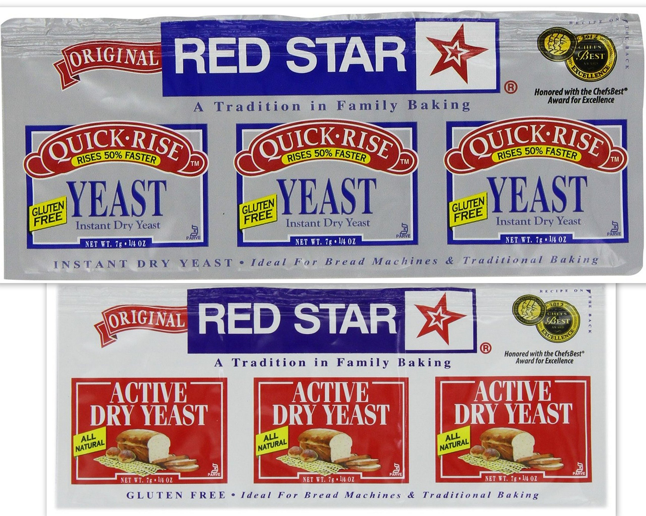 Red Star Yeast Variety Bundle, 0.25 oz packets (12 TOTAL PACKETS) includes 6-Packets Active Dry Yeast + 6-Packets Quick Rise Gluten Free Yeast by Red Yeast