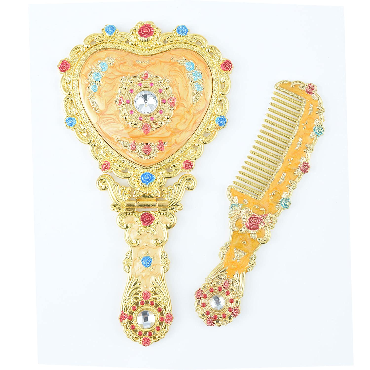 Moiom Vintage Princess Mirror, Iridescent Rhinestones Crystal Metal Folding Handheld Cosmetic Mirror Portable Travel Dressing Table Makeup Mirror, Golden with Yellow Painting