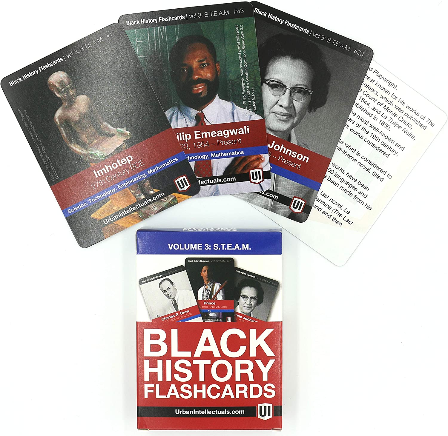 Urban Intellectuals Black History Flashcards: Science, Technology, Engineering, Arts, and Mathematics (52 educational card deck)