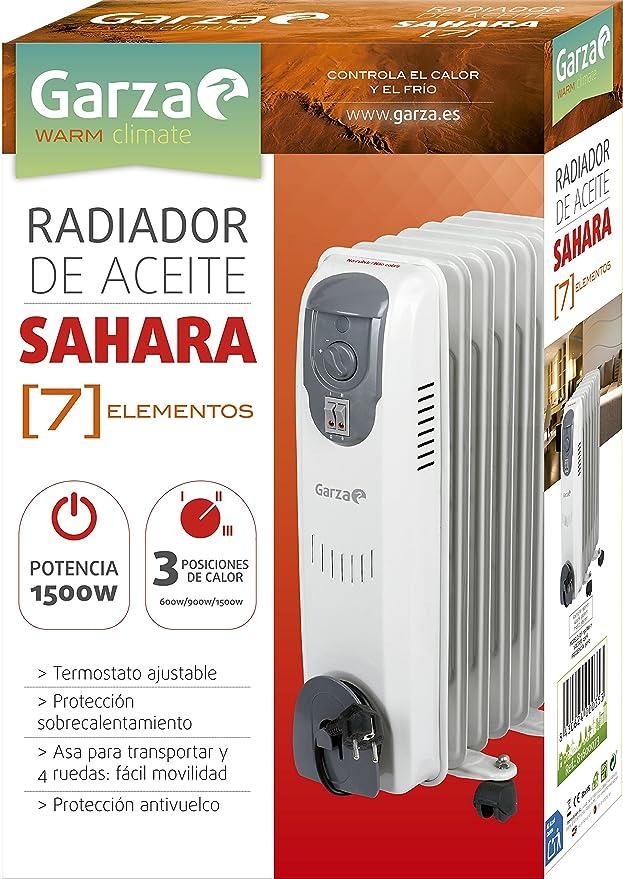 Garza Sahara - Radiador de aceite con ruedas de 7 elementos, potencia 1500W: Amazon.es: Hogar