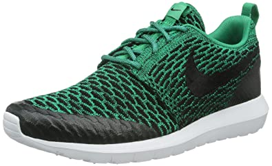 quality design 72f30 f8b5d Nike Mens Roshe NM Flyknit SE Lucid Green Black-White Fabric Size 9.5