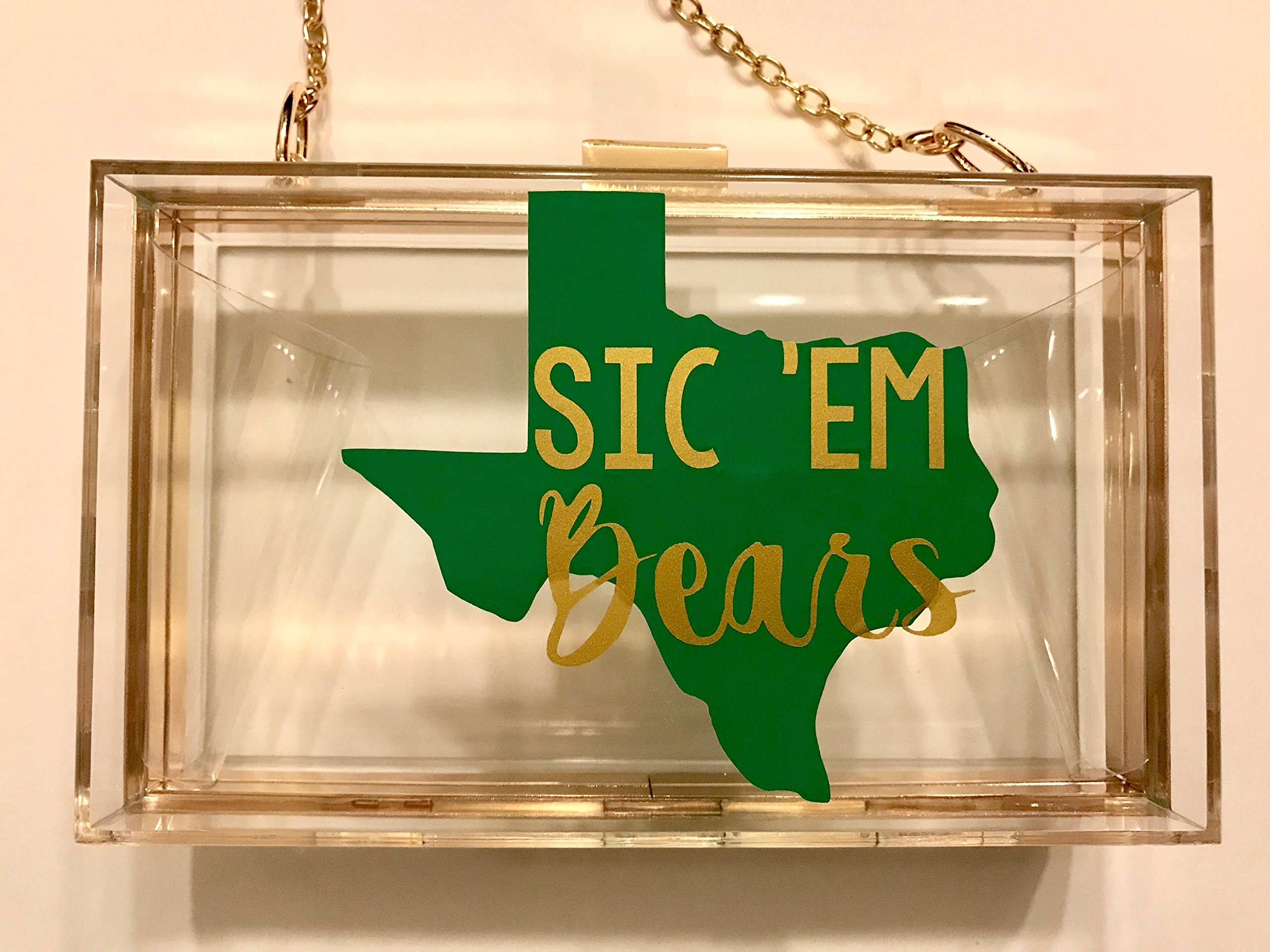 Baylor University Stadium Approved Clutch with Gold Chain Strap