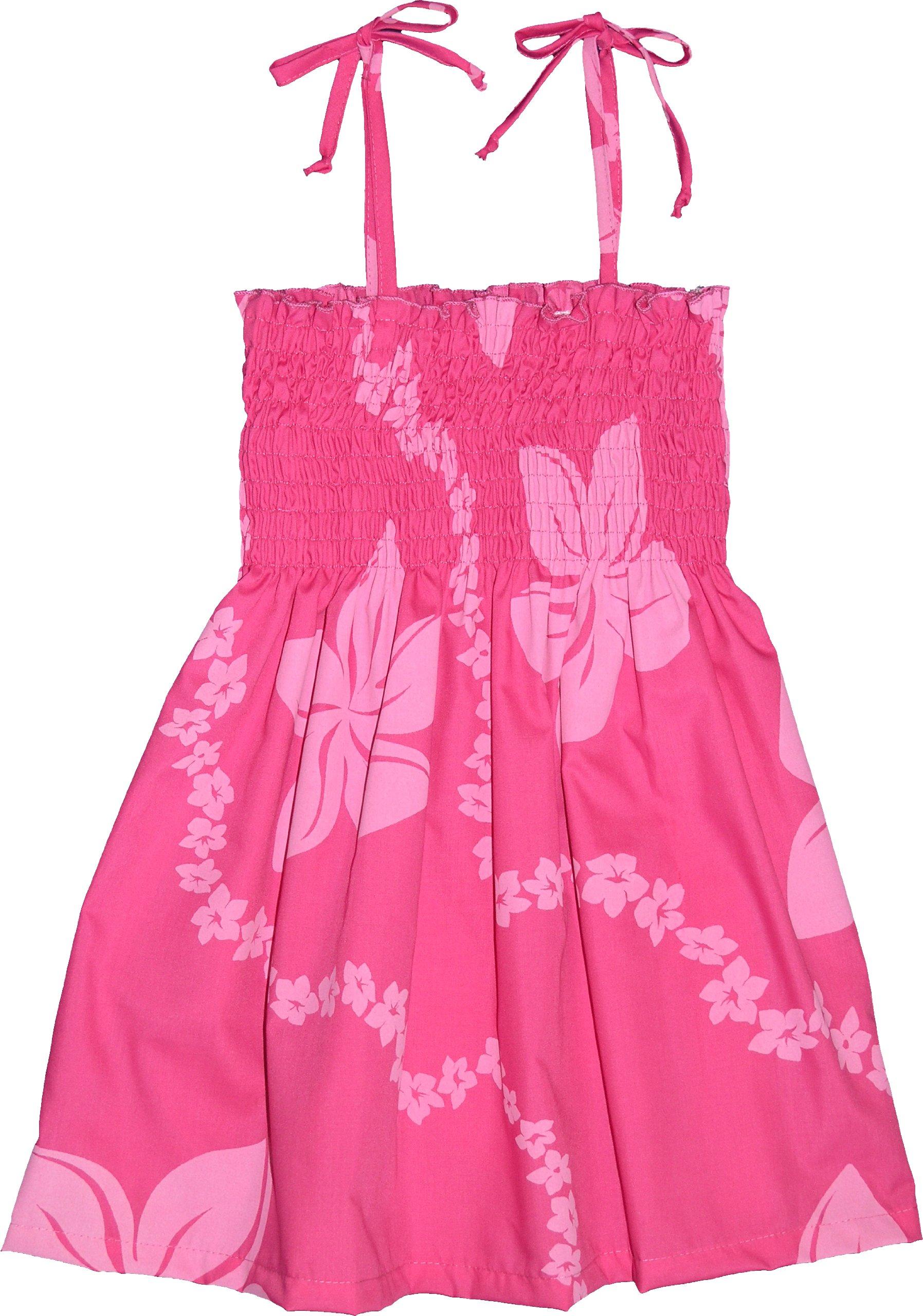 Tube Dress - Girl's Little Lei Spaghetti Strap Elastic Tube Top Hawaiian Aloha Polyester Cotton Smocked Sundress in Pink - 6