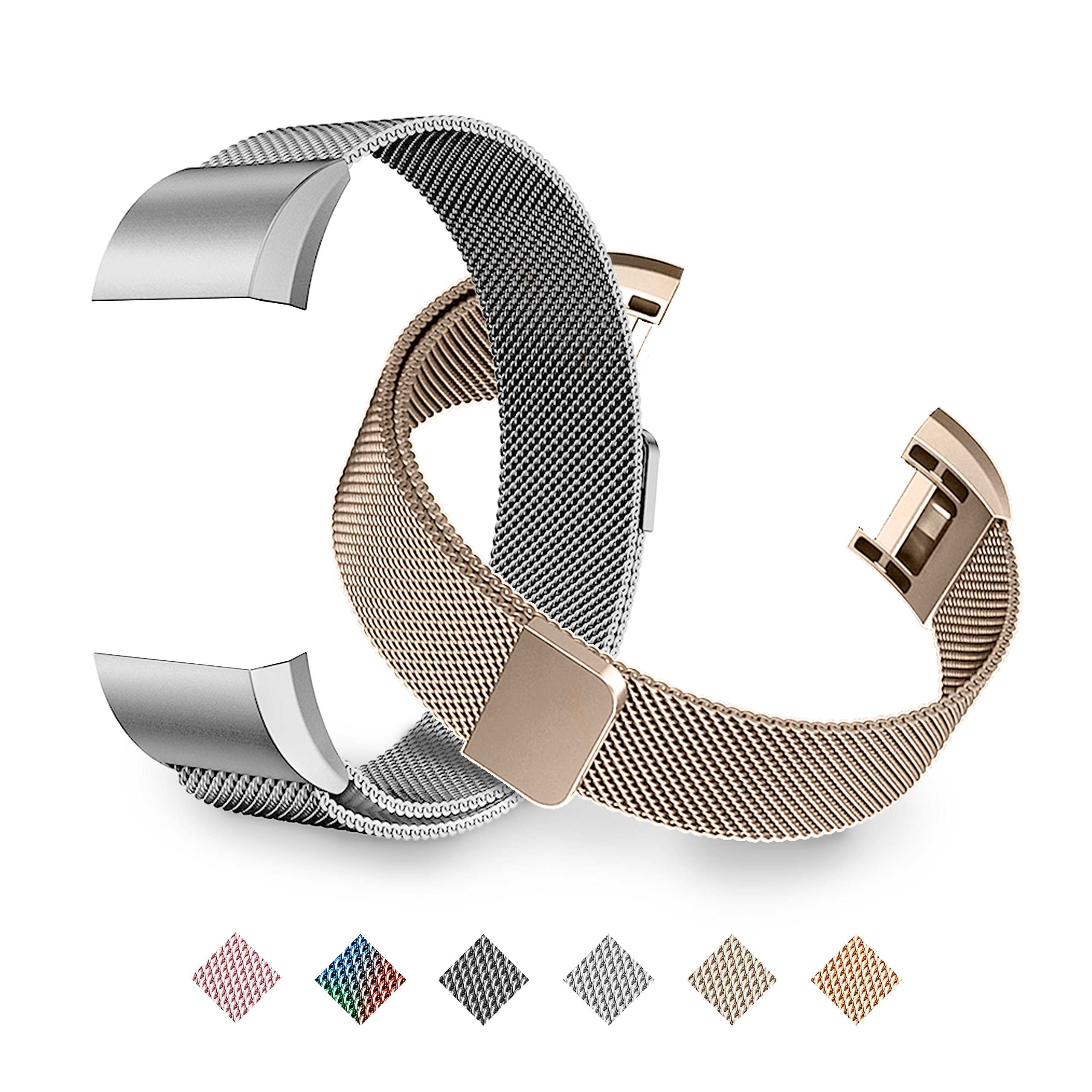 Fitbit Charge 2 Bands, Tecson Stainless Steel Metal Milanese Replacement Wristband Bracelet Strap with Magnet Lock for Fitbit Charge 2, Rose Gold, Champagne, Rose Pink, (Champagne Gold & Silver) by Tecson (Image #1)