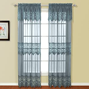 American Curtain and Home Patricia Window Curtain, 52-Inch by 84-Inch, Blue