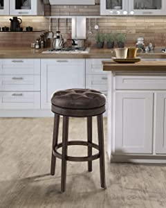 Hillsdale Krauss Backless Swivel Bar Height Stool, Barstool, Gray Faux Leather