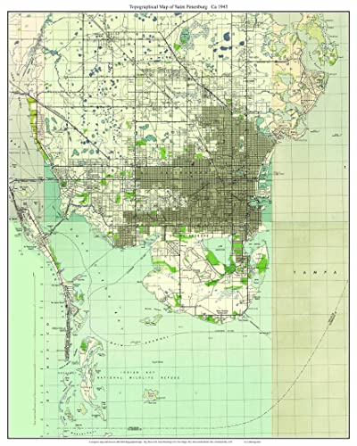 Topographic Map Of Florida.Amazon Com St Petersburg Florida 1945 Topo Map A Composite Made
