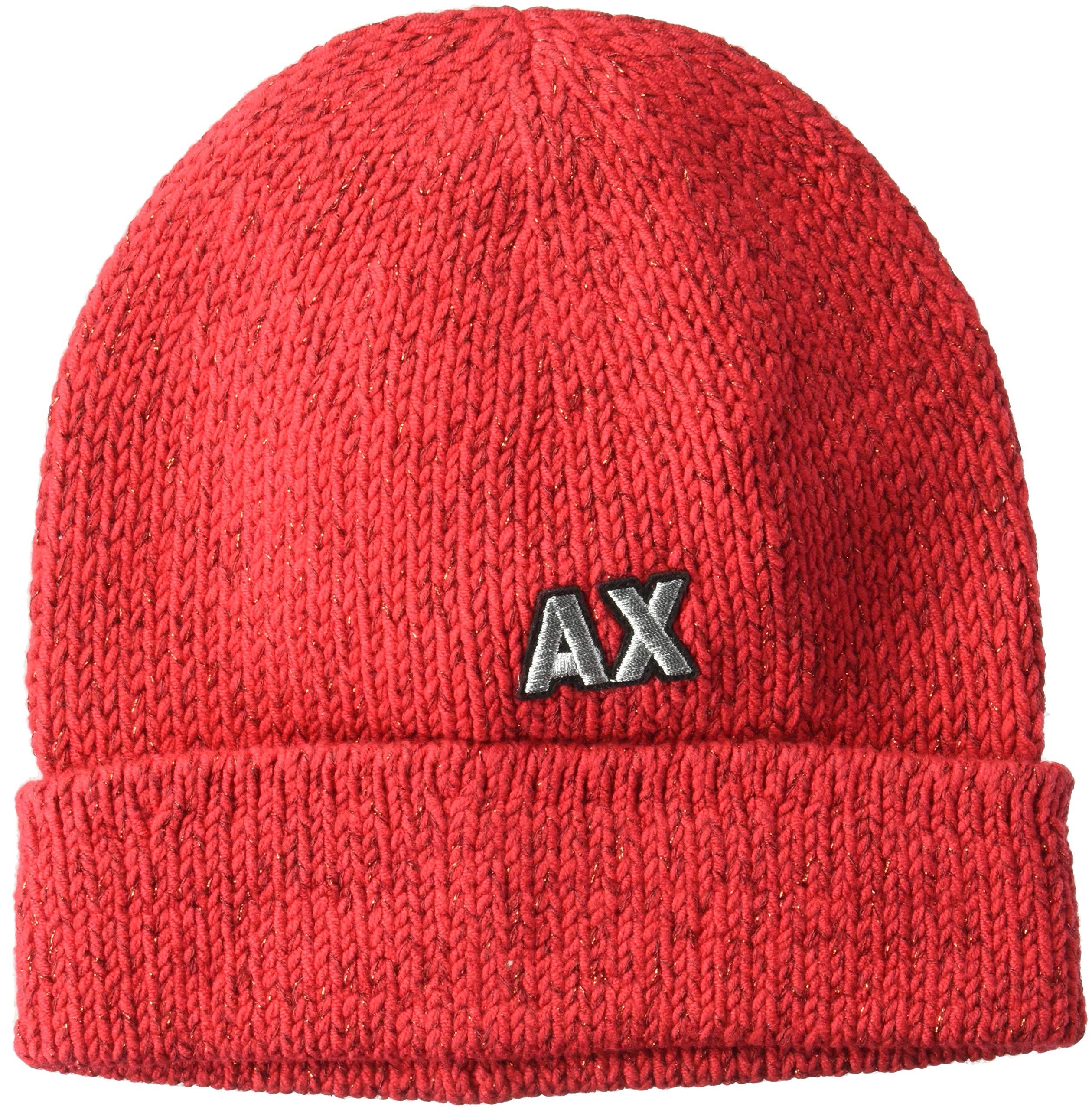 A|X Armani Exchange Women's AX Woven Beanie, Bloody Mary, TU