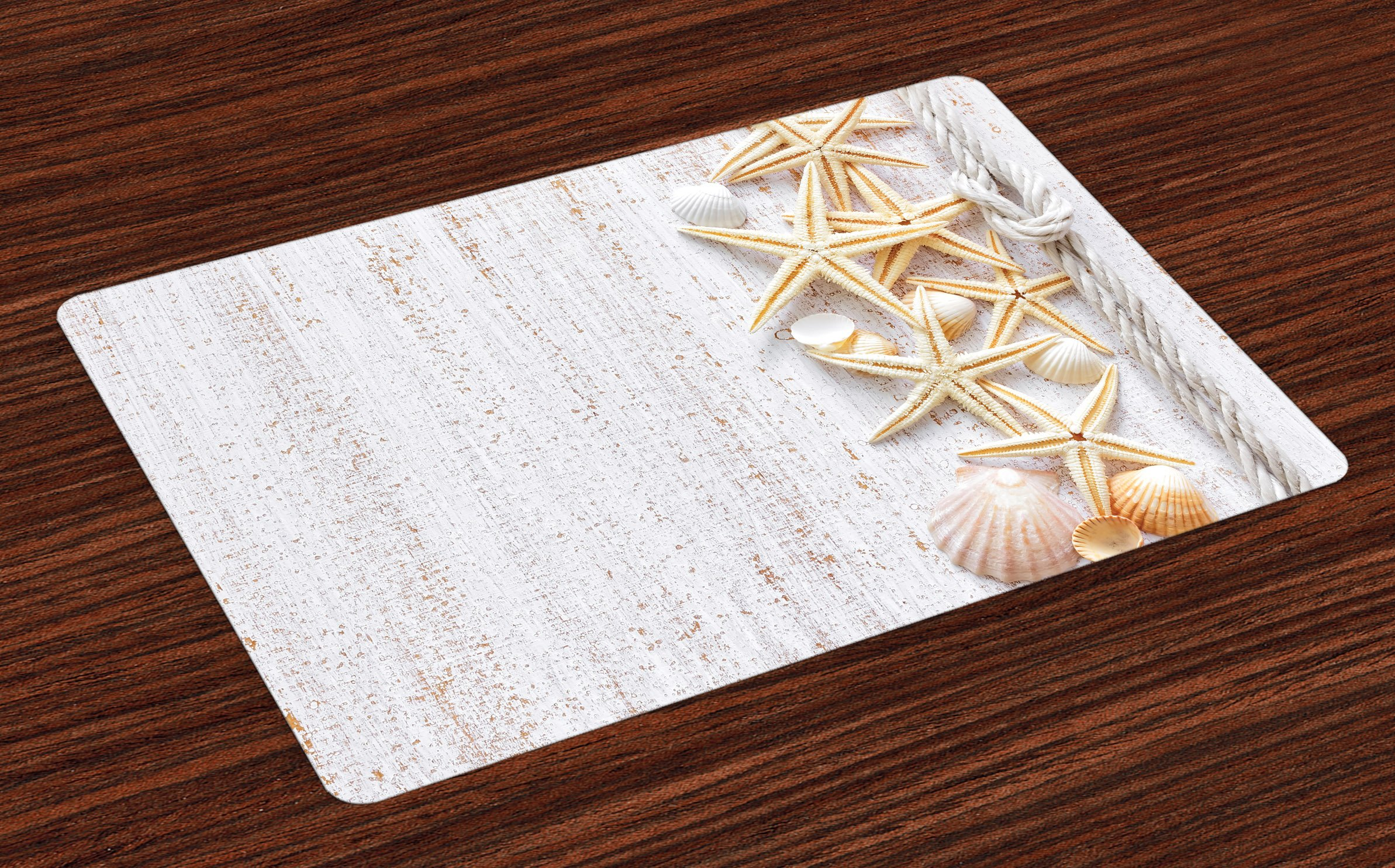 Ambesonne Seashells Place Mats Set of 4, Seashells and Starfish with Navy Rope in Vertical Direction Wood Print Ocean Beach, Washable Fabric Placemats for Dining Room Kitchen Table Decor, Ivory