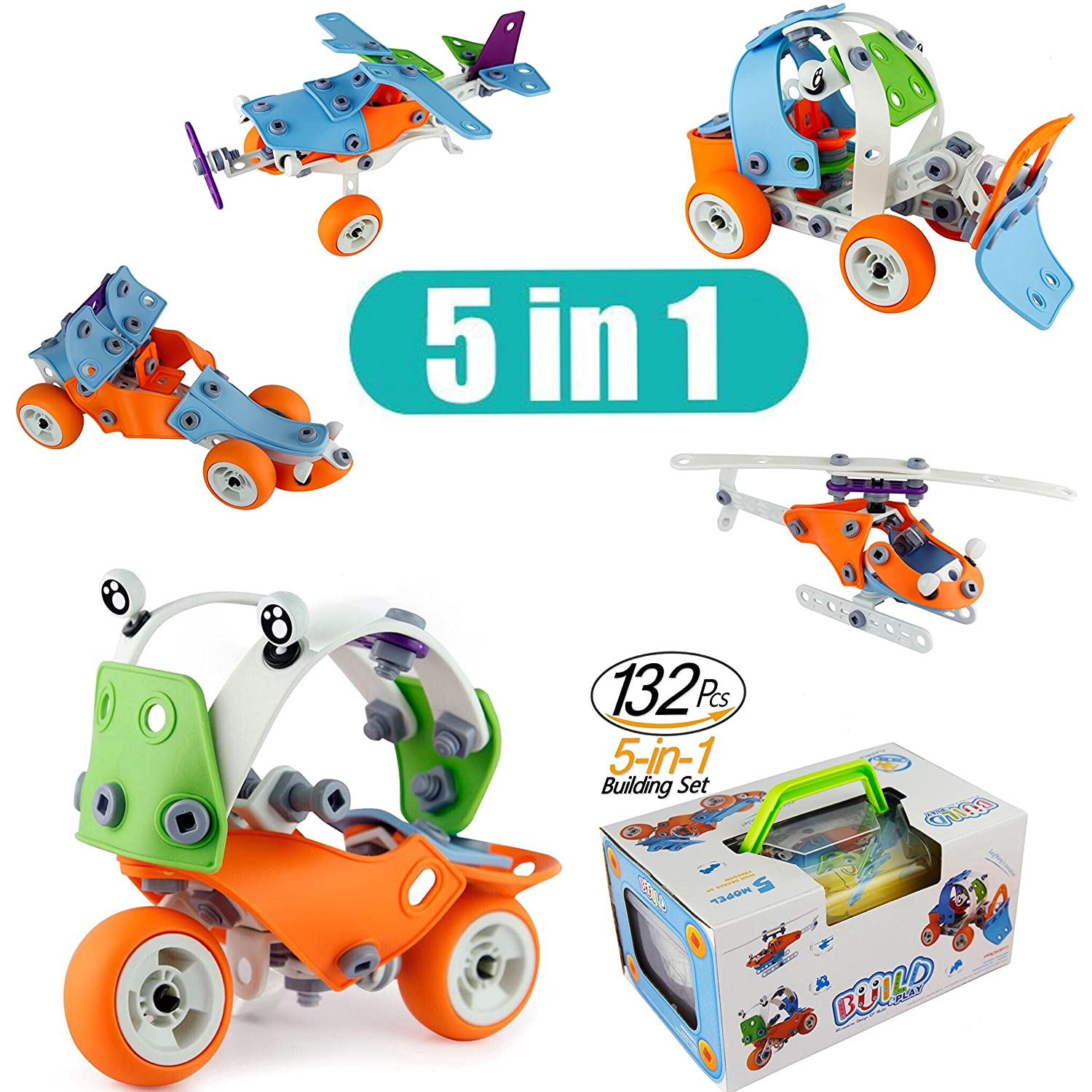 Model Building Blocks Toys Set Cars Airplane DIY Kits to build 5-in-1 STEM Learning Toys Creative Stacking Build Model Set 132PCS Education Construction Engineering Gifts For Kids Boys and Girls Toys Review