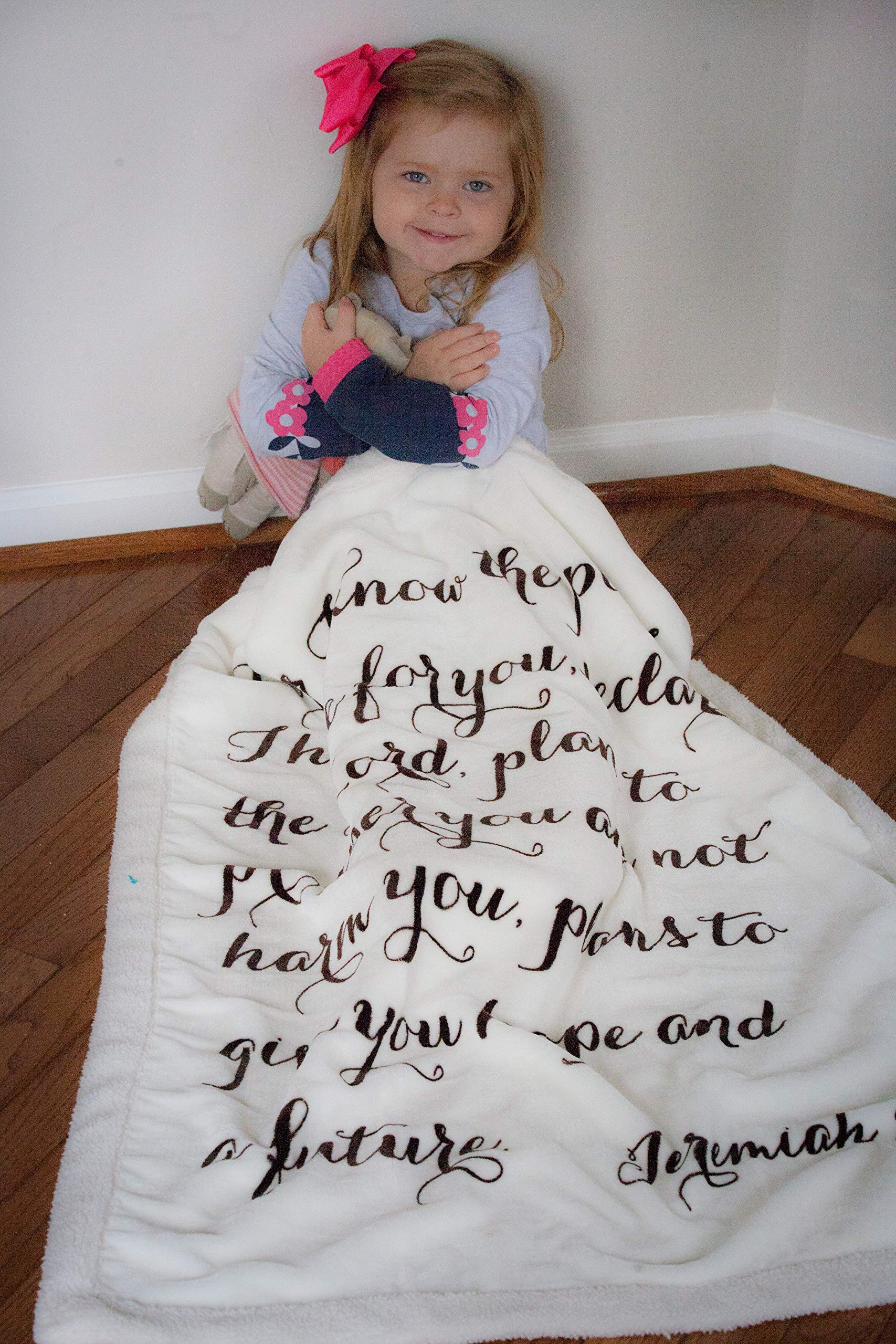 Religious Scripture Throw Blanket for Baby or Children   Jeremiah 29:11   Best Boy or Girl Shower or Birthday Gift   Ivory on Ivory Fleece Sherpa by Scripture Strong (Image #3)