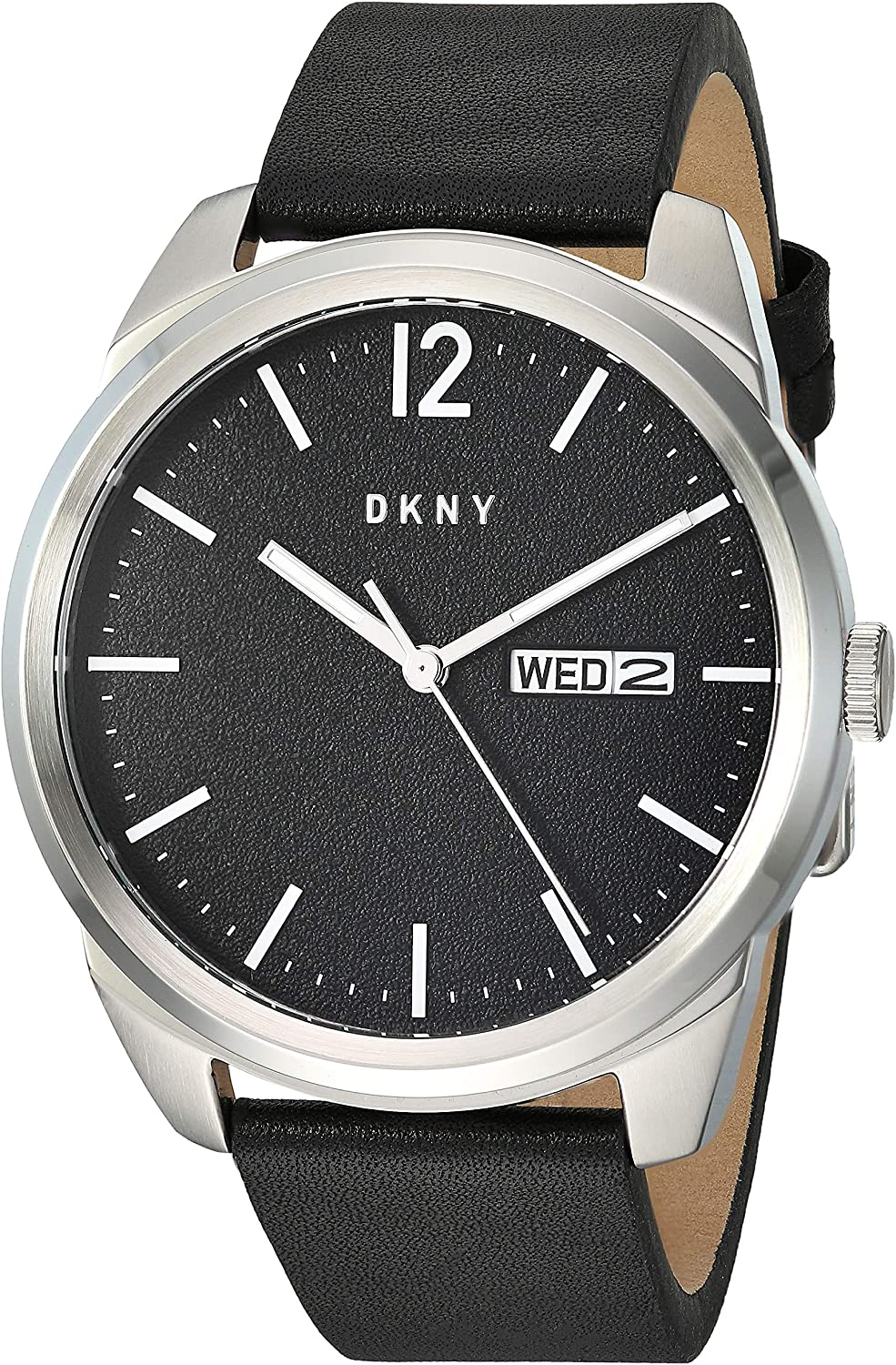 DKNY Men's Gansevoort Stainless Steel Quartz Watch with Leather Strap, Black, 22 (Model: NY1604)