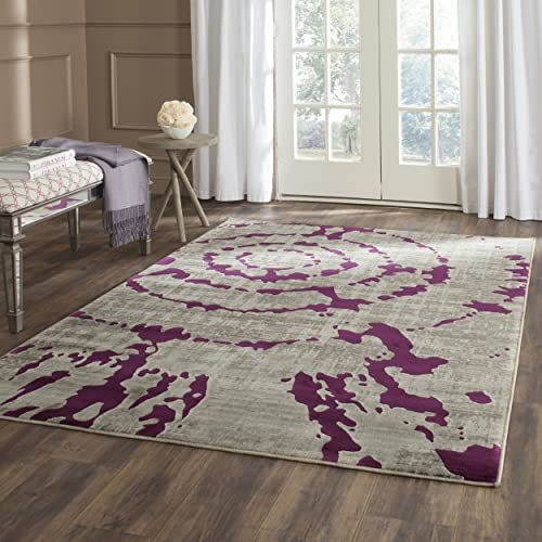 Safavieh Porcello Collection PRL7735B Light Grey and Purple Area Rug 6 x 9