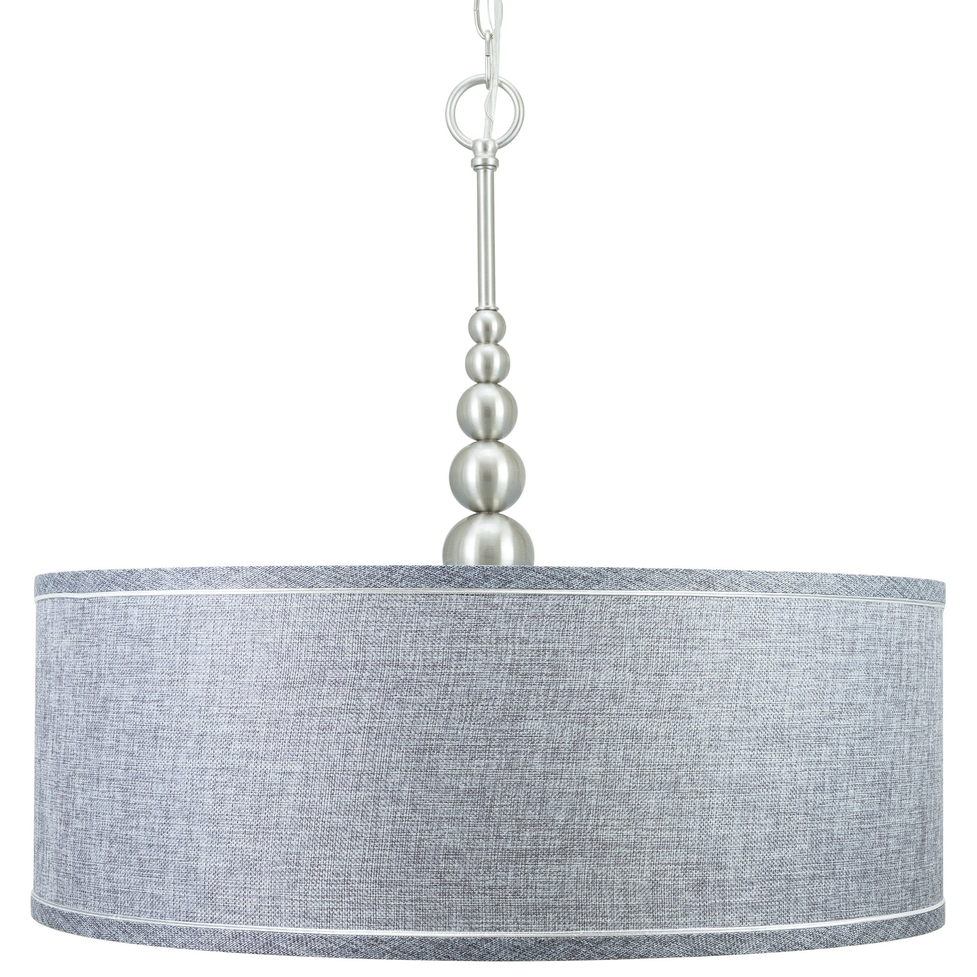 "Revel Adelade 22"" Modern Brushed Nickel Chandelier w Grey Fabric"