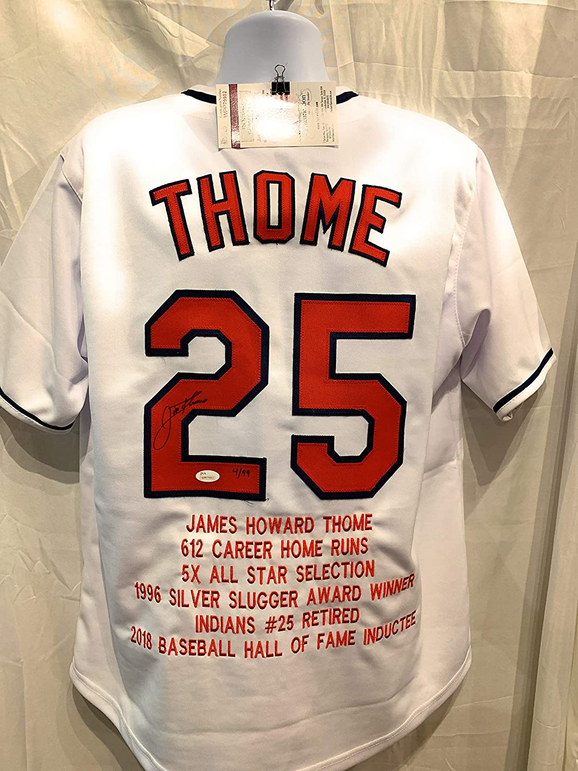 brand new 5a882 8768a Jim Thome Cleveland Indians Signed Autograph Custom White ...