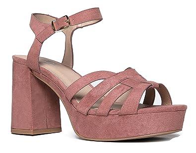75f253fe0d J. Adams Womens Platform Ankle Strap Low Heel - Chunky Open Toe Shoe Casual  Basic