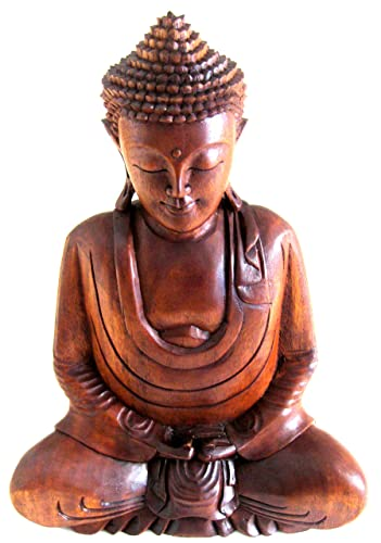 OMA Large Buddha Statue Solid Wood Carved Blessing World Peace Buddha Sculpture, XL Size 17 – Collector s Item Brand