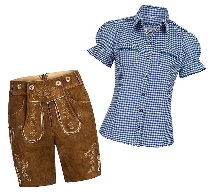 Gaudi Leathers Damen Set Trachten Lederhose Shorts hellbraun kurz + Träger + Trachtenbluse Mala kariert versch. Farben, Marke