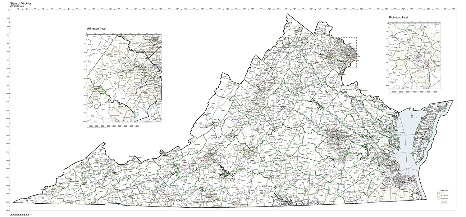 Amazon Com Zip Code Map State Of Virginia Laminated Home Kitchen