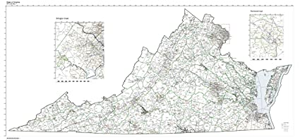 Zip Code Map Of Virginia.Amazon Com Zip Code Map State Of Virginia Laminated Home Kitchen