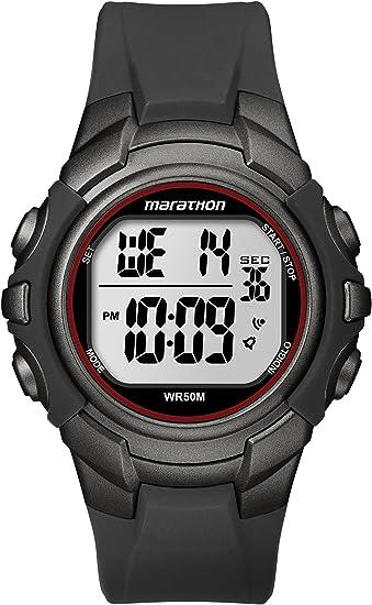 12536828f Marathon by Timex Men s T5K642 Digital Full-Size Gunmetal Gray Red Resin  Strap Watch