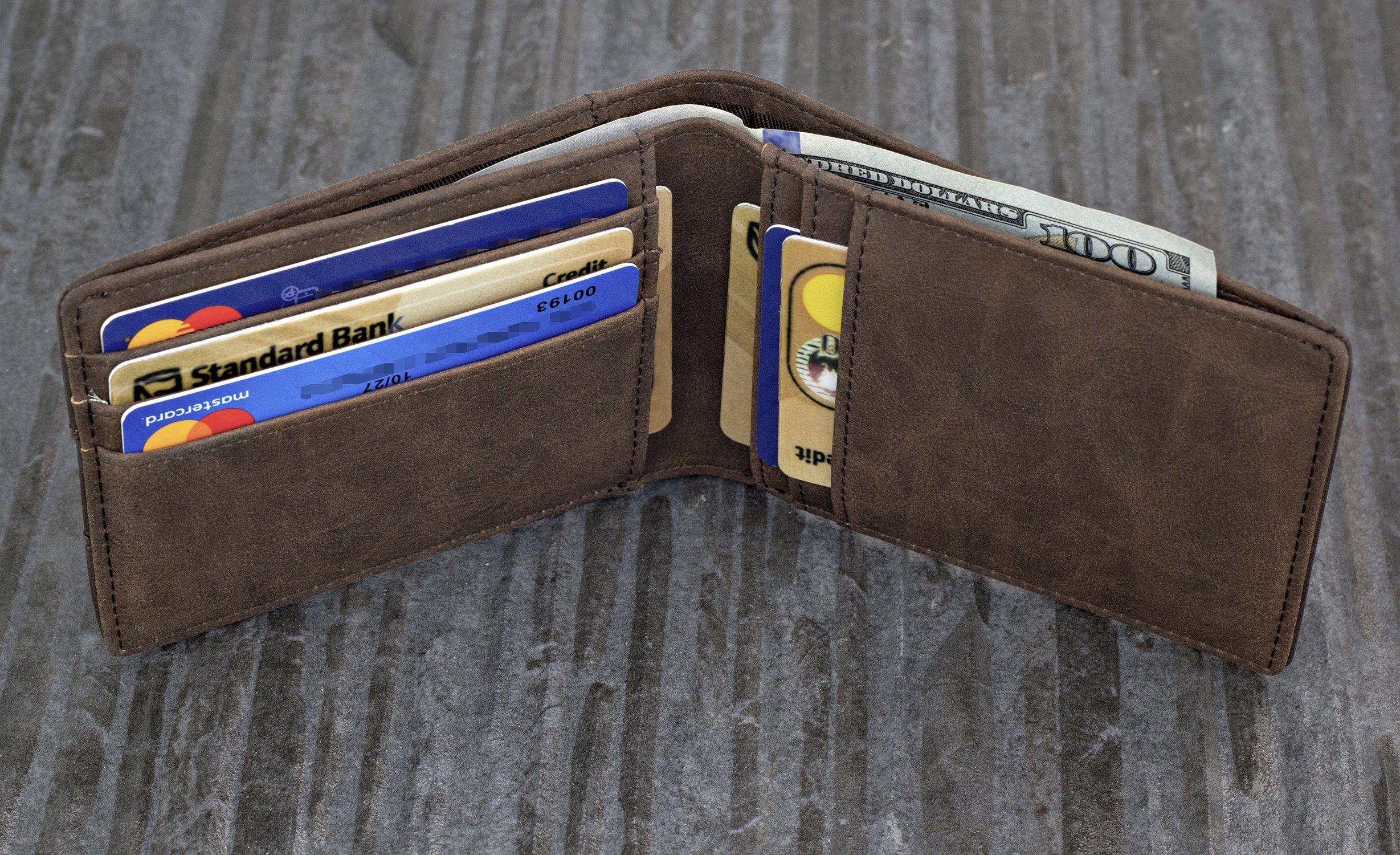 TRAVANDO Slim Wallets BUFFALO - RFID Blocking Wallet - 8 Card Pockets - Mini Credit Card Holder - Travel Wallet - Minimalist Bifold Wallet for Men with Gift Box by Travando (Image #3)