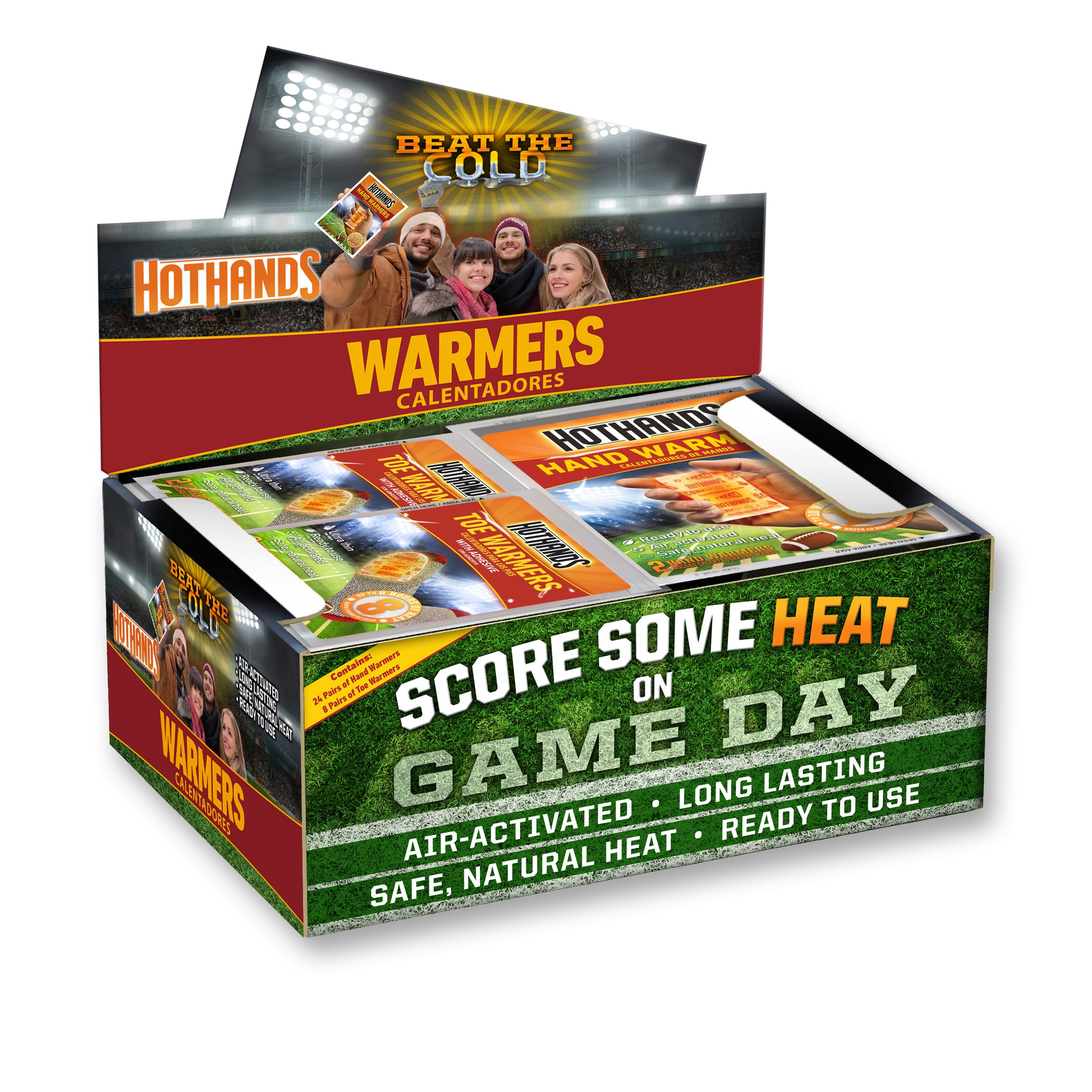 HotHands Game Day Hand & Toe Warmers - Long Lasting Safe Natural Odorless Air Activated Warmers - 24 Pair OF Hand Warmers & 8 Pair Of Toe Warmers by HotHands