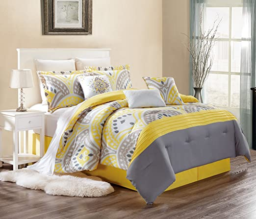 Modern 7 Piece Embroidered CASSANDRA Bedding SUNSHINE YELLOW / GREY / WHITE  / GREY Pin Tuck (California) Cal King Comforter Set with accent pillows
