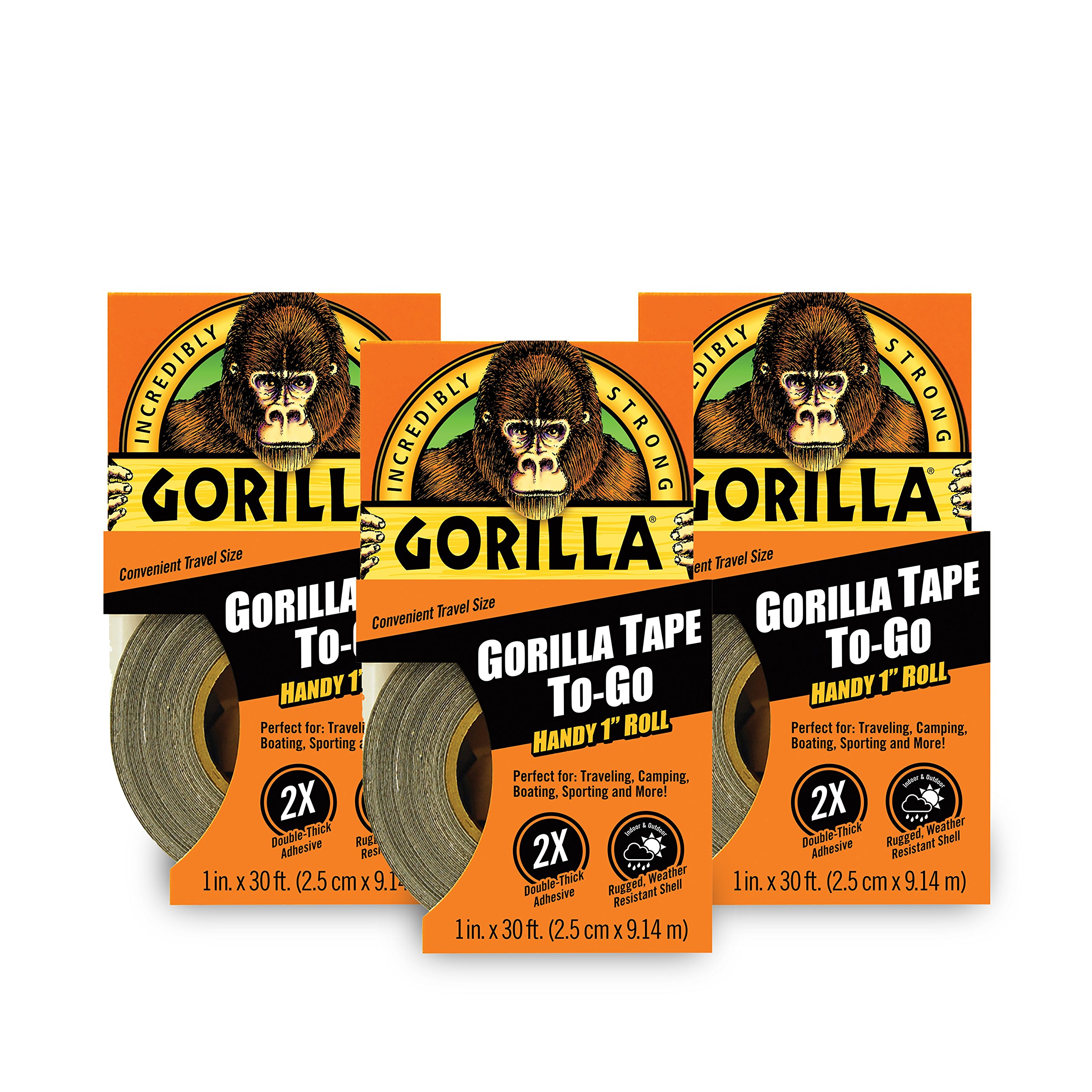 Gorilla Tape, Mini Duct Tape To-Go, 1'' x 10 yd Travel Size, Black, (Pack of 3)