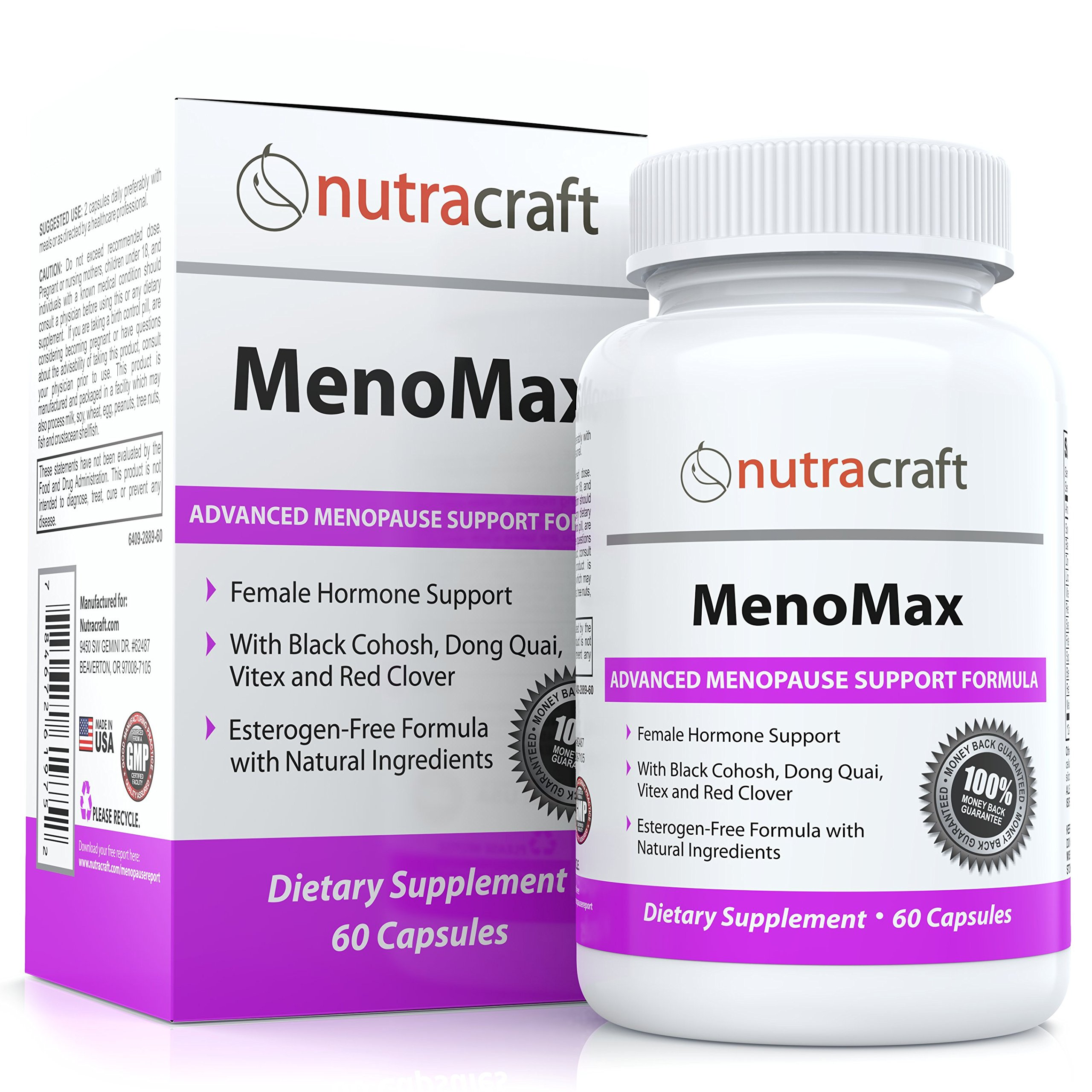 #1 Menopause Relief Supplement - Natural Herbal Menopausal Support for Hot Flashes, Night Sweats, Vaginal Dryness and Mood Swings With Black Cohosh, Dong Quai, Vitex, Soy and Wild Yam - 60 Capsules