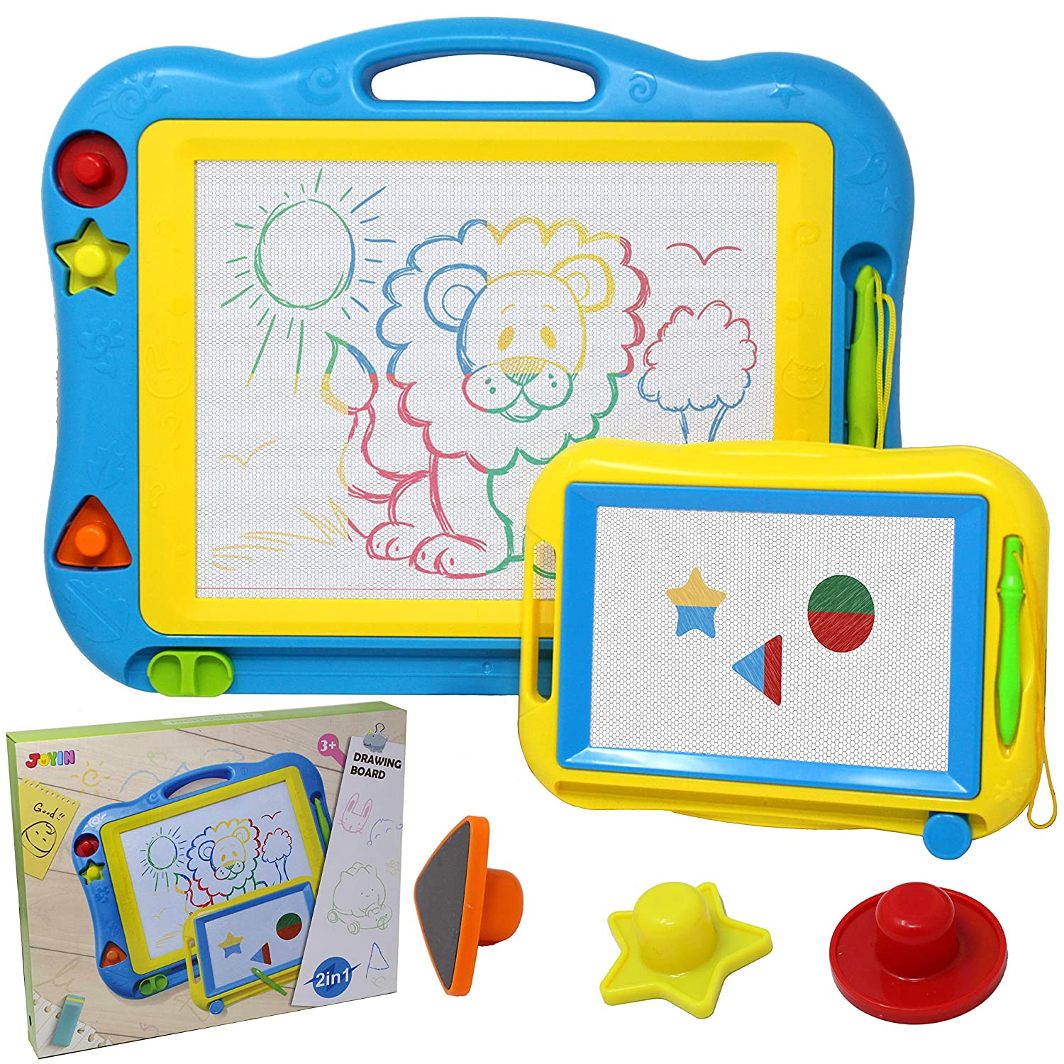 """2 Magna Doodle Boards with Multi-Colors Drawing Screens, 13"""" x 17"""" Erasable Magnetic Drawing Sketch Board for Toddler Painting, Travel Gaming Pad Toy, Birthday Gift Present, Easter Basket Stuffers"""