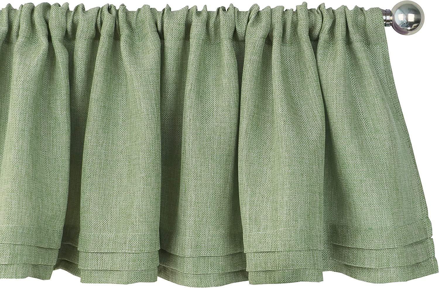 Aiking Home Semi-Sheer Faux Linen Pleated Valance 56 by 14 Inches