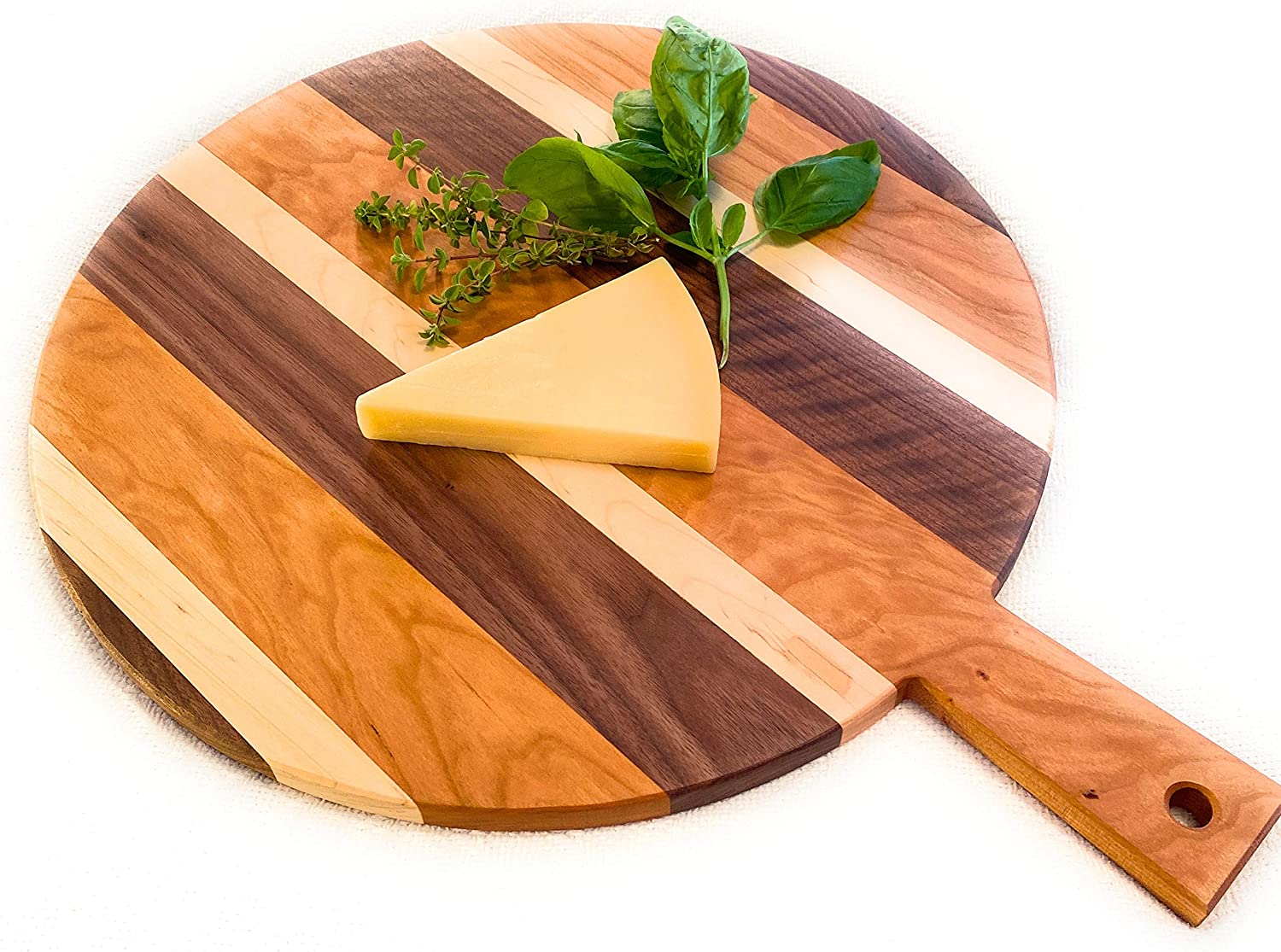 "Large Round Charcuterie Cheese Board Hand Made in USA from East Coast Hardwood 18"" round Cutting Board with Handle. Beautiful Serving Tray, Farmhouse Decor, Serving Platter for Appetizers."
