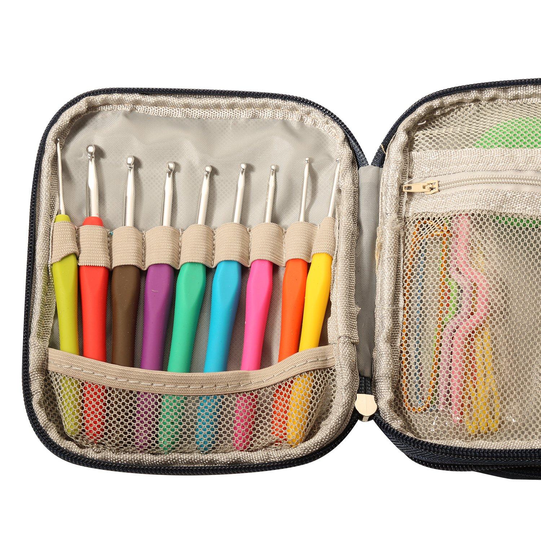 Moolon Home Crochet Suit 9 PCs Multiple Specifications Soft Handle Crochet And Accessories Crochet Weaving Tool Portable Set by Moolon (Image #3)