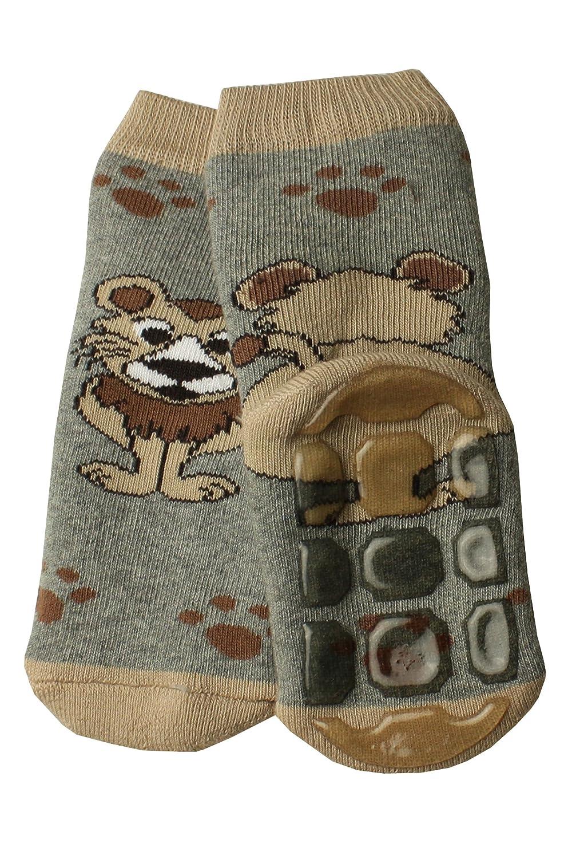 Weri Spezials Baby und Kinder Voll-ABS Socke in Grau. Ein lustiger Loewe - ganz rutschfest!