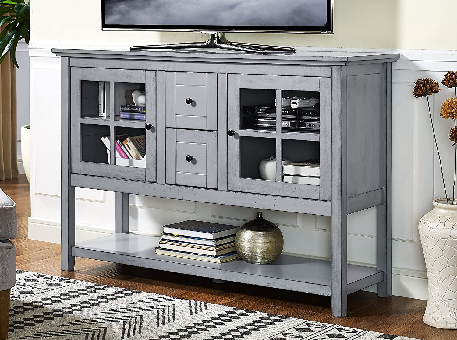 "WE Furniture 52"" Wood Console Table Buffet TV Stand - Antique Grey"