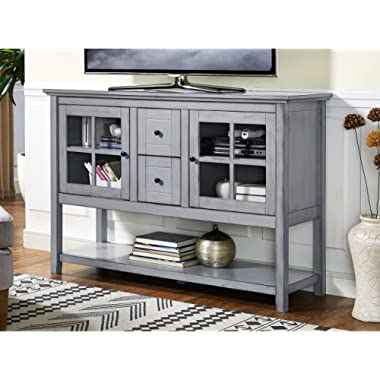 WE Furniture 52  Wood Console Table Buffet TV Stand - Antique Grey