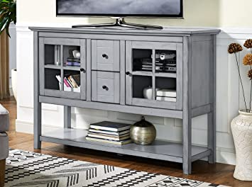 WE Furniture 52quot Wood Console Table Buffet TV Stand