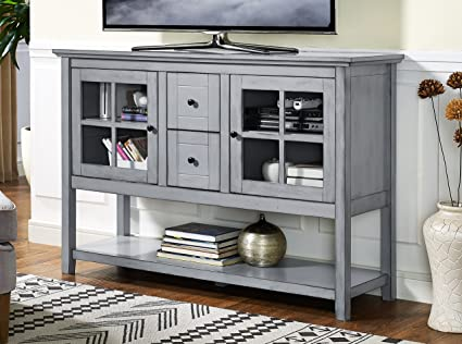 Merveilleux WE Furniture 52u0026quot; Wood Console Table Buffet TV Stand   Antique Grey