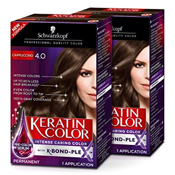 Schwarzkopf Keratin Color Permanent Hair Color Cream 4 0 Cappuccino Pack Of 2