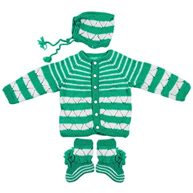 04ad85fbd Maple Krafts 100% Wool Hand-Knitted Sweater Baby Boys Girls Full Sleeve  Dailywear Green White 0-1 Years: Amazon.in: Clothing & Accessories