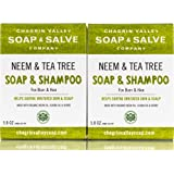 Organic Natural Shampoo & Soap Bar, Neem & Tee Trea 2X Pack, Chagrin Valley Soap & Salve