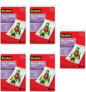 Scotch Self-Sealing Laminating Pouches, Glossy Finish, 4 3/8 x 6 3/8 Inches, 5 Pouches (PL900G) - 5 Pack
